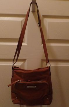 "Brown FRANCO SARTO Soft Faux Leather Crossbody Shoulder Handbag Purse 9"" W x 10"" #FrancoSarto #MessengerCrossBody"