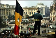 Romania, 25 years ago. The overthrow of Nicolae Ceausescu.  Palace Square, Bucharest, Dec., 1989. © Peter Turnley.
