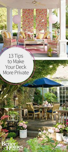 There are a ton of ways you can make your deck more private in your backyard, and we're sharing some of the best ways to do so with our favorite tips. We love the use of things like privacy fences, nature, and canopies to create a secluded outdoor retreat.