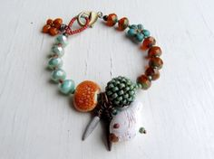 Perched  handmade seafoam green and pumpkin orange by songbead