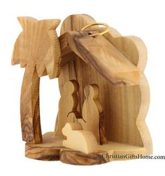 Olive Wood Christmas Tree Nativity Ornament - Hand Made in Holy Land - Gift