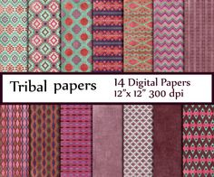 "Tribal Digital Paper: ""TRIBAL PAPER"" Tribal Patterns aztec pattern tribal designs patterned papers tribal backgrounds tribal chevron"