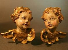 Two Italian Angels, Carved of Wood and Painted