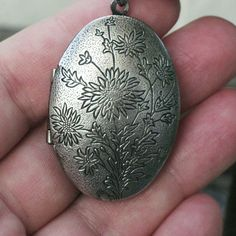 Reversible Metal Locket Carved With Flowers & Hand Painted With The Velveteen Rabbit on the Inside, by PaintedFancy, $100.00