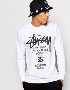 Stussy+Long+Sleeve+T-Shirt+With+World+Tour+Print