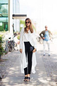 copenhagen / stockholm streetstyle / white long blouse / monochrome look / minimal