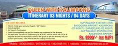"""""""QUEEN WITH KALIMPONG"""" ITINERARY 03 NIGHTS / 04 DAYS NJP RAILWAY STATION / (IXB) BAGDOGRA AIRPORT- KALIMPONG (01 NIGHT) - DARJEELING (02 NIGHT) - NJP RAILWAY STATION/ (IXB) BAGDOGRA AIRPORT. Visit @ http://www.akashtravels.co.in/"""