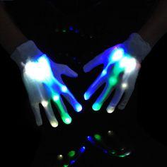 super popular ed7c4 eee22 Basicest(TM)-Gants à LED Lumineux,Magique lumière Variable pour Deguisement  Fête (Halloween et Noël)ou festival,Gants lumineux de Soirée Multicolores  Doigts ...