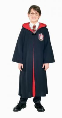 Straight out of the Harry Potter movie! Black robe has maroon lined hood and Gyrffindor patch. Clasp is 2 clips joined by elastic with a button and arrow look. Early design. Child small 4-6. Polyester.$28.88
