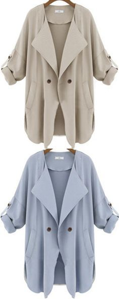 Trench coat for spring ! Casual work outfit for women .Pocket apricot coat at Romwe .Also light blue color for you to choose.