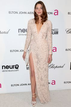 Analeigh Tipton wears ELIE SAAB Ready-to-Wear Spring Summer 2013 to the Elton John Viewing Party.