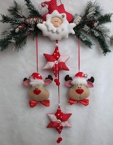 Felt Christmas Decorations, Christmas Ornament Crafts, Felt Ornaments, Felt Crafts, Christmas Wreaths, Christmas Crafts, Lollipop Decorations, Christmas Clay, Christmas Sewing