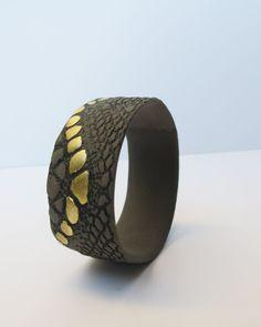 Black Gray and Gold Porcelain Bracelet Handmade in Greece
