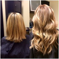 Hair extensions blonde - before & after