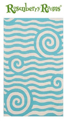 The Yala Blue & White Outdoor Rug features swirls, stripes and squiggles in fun blue and white colors.   Made for the outdoors, this rug also makes a great area or accent rug for a child's bedroom, nursery, or play area because of its easy to clean and durable qualities