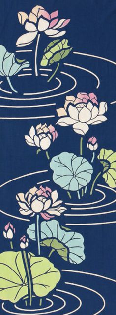 Japanese Tenugui cotton towel fabric. Flower pattern / Lotus flower design. High quality tenugui fabrics made of soft 100% cotton cloth and hand dyed by Japanese master dyers.  [ H o w T o U s e ] * towel * washcloth * dishcloth * headband / bandanna * scarf * wall hanging (like a painting or textile) * wrapping * place mat * table runner / center piece * book jacket, and... MORE! Enjoy your own unique way!  [ M a t e r i a l ] Cotton 100%  [ D i m e n s i o n s ] 33×90cm &#x2F...