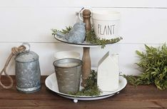 Distressed Enamel Tiered Tray | Chippy Farmhouse