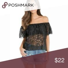 Elan Black Lace Off-the-Shoulder Crop Top M NWT Sexy off-the-shoulder black lace crop top. Lined bandeau-style bodice and free flowing lace overlay. Elasticized neckline and sleeves. 60% Cotton/40% Nylon NWT $59 M Elan Tops Crop Tops