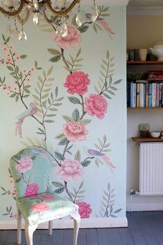 Tapetenmuster Mit Blumenmotiven   Schöne Wandgestaltung Ideen