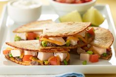 Cheesy Turkey Quesadillas | #recipes #turkey #quesadillas #Mexican #JennieO | http://www.jennieo.com/recipes/755-Cheesy-Turkey-Quesadillas