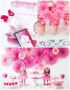 What a cute American Girl Doll 9th birthday party with via Kara's Party Ideas | Cake, decor, cupcakes, games and more! KarasPartyIdeas.com #americangirldoll #girlyparty #pinkparty (2)