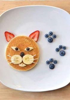 pancake for kids Pancake cat - - pancake Cute Food, Good Food, Yummy Food, Cute Snacks, Pancake Cat, Kreative Snacks, Food Art For Kids, Toddler Snacks, Kid Snacks