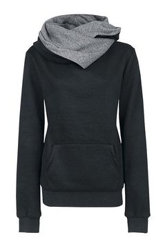Black Special Hooded Big Pocket Front Sweatshirt -YOINS