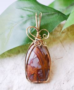 Noreena Jasper Pendant Gold Wire Wrapped Pendant by SISDesigns