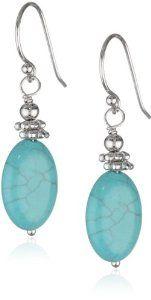 Sterling Silver Oval Bead Drop Earrings