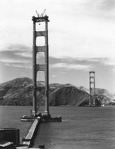 U.S. Golden Gate Bridge in construction, San Francisco, CA, 1935
