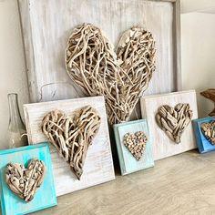 Wall Decor Crafts, Frame Wall Decor, Frames On Wall, Framed Wall, Heart Wall Decor, Driftwood Projects, Driftwood Art, Driftwood For Sale, Beach Crafts