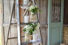 Vintage ladder, mason jars, babies breath, lace metal candle holders, sage door, rustic, Shabby Chic