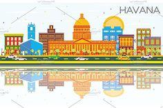 #Havana #Skyline with #Color #Buildings by Igor Sorokin on @creativemarket