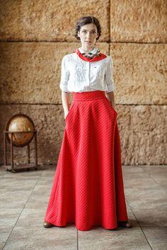 Red skirt/Maxi skirt/Long skirt/Winter skirt/Autumn skirt Fall Skirts, Red Skirts, Red Maxi, Winter Skirt, Autumn, Trending Outfits, Vintage, Dresses, Fashion