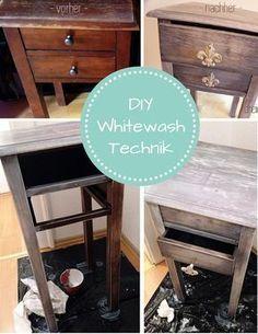 Shabby Chic DIY-Anleitung für Vintage Möbel mit der Whitewash-Technik - Wie's geht seht ihr hier: http://dreieckchen.de/diy-flohmarkt-schaetze-mit-whitewash-technik/