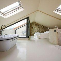 100 Incredible Loft Bedroom Interior Ideas www. Attic Loft, Loft Room, Bedroom Loft, Attic Office, Bedroom Modern, Bed Room, Mezzanine Design, Loft Design, Small Attic Bathroom