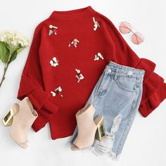 To find out about the Sequin Detail Tiered Bell Cuff Sweater at SHEIN, part of our latest Sweaters ready to shop online today! Winter Fashion Outfits, Cute Fashion, Fall Outfits, Casual Outfits, Sweater Fashion, Pretty Outfits, Cute Outfits, Girls Crop Tops, Crop Top Outfits