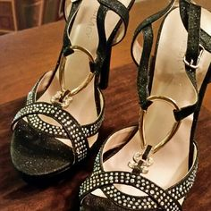 Crystal studded High Heel Sandals Crystal studded high heel sandels with metal embellishment Shoes Sandals