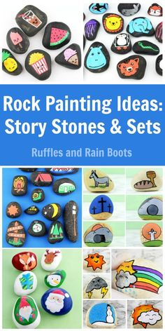 These rock painting ideas for story stones and sets will bring ALL the smiles. From animals to Easter, get inspired. via day story Rock Painting Ideas: Story Stones for Kids Pebble Painting, Pebble Art, Stone Painting, Rock Painting, Rock Crafts, Arts And Crafts, Diy Crafts, Kawaii Faces, Painted Rocks Kids