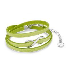 Neon Green Infinity Leather Bracelet