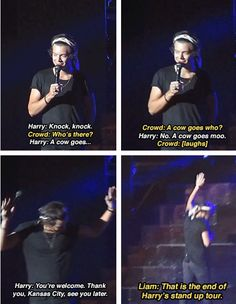 Harry's joke is so stupid that it is actually really funny.