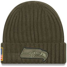 d1db62bea6ccc Men s Seattle Seahawks New Era Olive 2017 Salute To Service Cuffed Knit Hat
