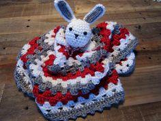 Ohio State OSU Buckeyes Bunny Lovey Crochet Blankie by MadebyMawMaw on Etsy https://www.etsy.com/listing/252598669/ohio-state-osu-buckeyes-bunny-lovey