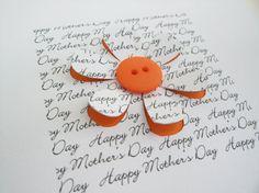 Día de la madre tarjeta  tarjeta de flores botón por Nikelcards