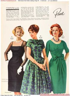 1950s Fashion Dresses, Fifties Fashion, Vintage Style Dresses, Vintage Fashion, Fashion Outfits, Fashion Ideas, Vintage Ladies, Retro Vintage, Christmas Catalogs