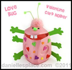 Milk Jug Love Bug Valentine Box - We recycled milk jugs from the cafeteria to make our Valentine holders this year. Valentines Card Holder, Valentine Day Boxes, My Funny Valentine, Valentines For Kids, Valentine Day Crafts, Holiday Crafts, Holiday Fun, Valentine Ideas, Holiday Ideas