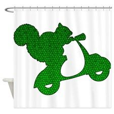 Green Squirrel on Scooter Mosaic Shower Curtain for