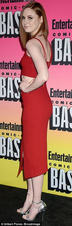 Lady in red: The 28-year-old Scottish actress turned up the heat in a red coordinated ense...