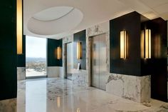 elevator lobby - lighting, materials (The ACBC Office Interior Design by Pascal Arquitectos) Marble Interior, Lobby Interior, Office Interior Design, Interior Architecture, Corporate Interiors, Hotel Interiors, Office Interiors, Elevator Lobby Design, Entrance Design