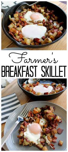 this farmer's breakfast skillet recipe for any meal of the day! A hearty one pan meal that is sure to please!Make this farmer's breakfast skillet recipe for any meal of the day! A hearty one pan meal that is sure to please! Iron Skillet Recipes, One Skillet Meals, Cast Iron Recipes, One Pan Meals, Easy Meals, Cast Iron Skillet Meals, Breakfast Skillet, Breakfast And Brunch, Easy Healthy Breakfast